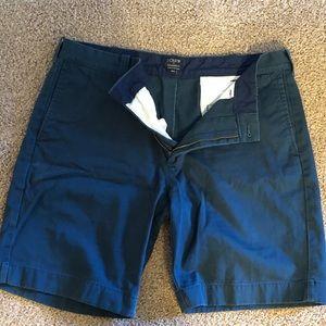 J Crew Dark Green/Blue Flat Front Gramercy Shorts